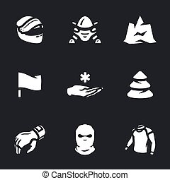 Vector Set of Snowmobile Icons. - Helmet, transport,...