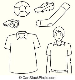 vector set of soccer player and soccer equipment