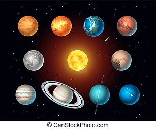 Vector set of Solar System objects. Sun, Moon, Pluto and Planets on space background