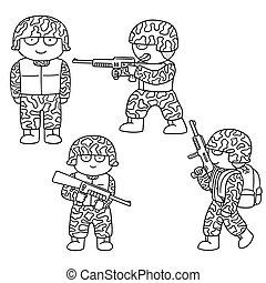 vector set of soldier