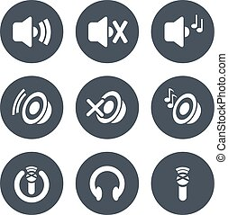 Vector set of sound icon - speaker with volume indicator and music, microphone and headphone