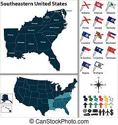 Vector set of Southeastern United States with flags and map on white background