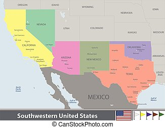Southwestern United States - Vector set of Southwestern ...