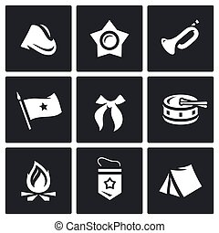 Vector Set of Soviet organization Pioneer Icons. Cap, Oktyabrenok, Trumpet, Banner, Tie, Drum, Bonfire, Pennant, Camp.