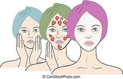 Vector set of spa beautiful girl