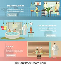 Vector set of spa therapy concept horizontal banners in flat style