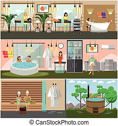Vector set of spa therapy concept posters, banners, flat style