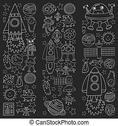 Vector set of space elements icons in doodle style. Painted, black monochrome, chalk pictures on a blackboard.