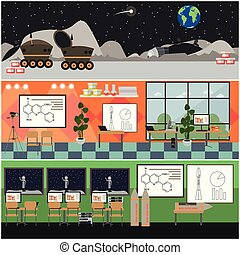 Vector set of space interior posters, banners in flat style