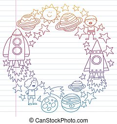 Vector set of Space kids icons in doodle style. Painted, colorful, gradient on a piece of linear paper on white background.