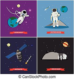 Vector set of space mission, exploration concept illustrations, flat style