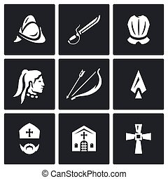 Vector Set of Spanish Conquistador Icons. Helmet, Saber, Armor, Native American, Bow, Arrow, Spear, Bishop, Church, Cross.