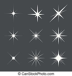 Vector set of sparkle lights stars. Stars with rays,...