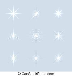 Vector set of sparkle lights stars.