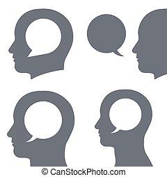 Vector set of speech bubble inside human heads