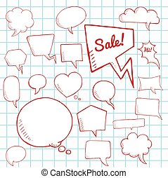 Vector set of speech bubbles, group of doodle speech buble on paper sheet