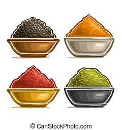 Vector set of spices in bowls