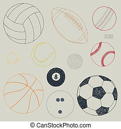 Vector set of sport balls. Hand drawn sketch
