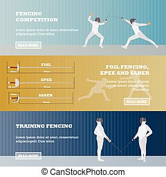Vector set of sport fencing banners. Games competition concept