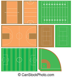 sport fields - vector set of sport fields