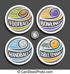 Vector set of sport logos, 4 round simple badges with flying...