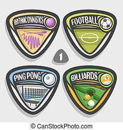 Vector set of sport logos, 4 triangle simple badges with...