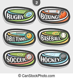 Vector set of sport logos, 6 oval simple badges with flying...