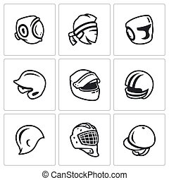 Vector Set of Sports hat, cap and headband Icons. Kudo, Muay Thai, Boxing, Baseball, Motor racing, American Football, Swimming, Hockey, Goalie, Jumping.