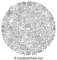 Vector set of Spring cartoon doodle objects