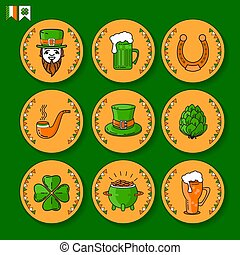 Vector set of St. Patricks Day icon on white background.