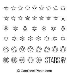 Vector set of star icons and pictograms