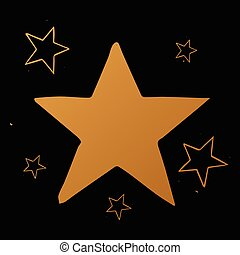 Vector set of stars, gold stars on black background