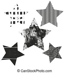 Vector Set of Stars. Stars with different patterns. Stars icons.