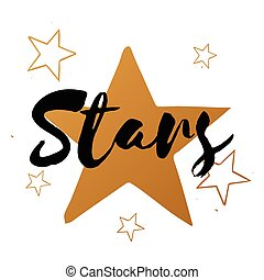 Vector set of stars with black text, big gold star, design for greeting card, poster, banner, printing, mailing