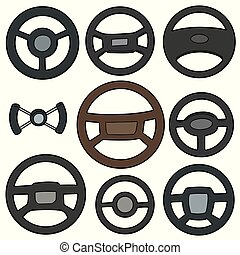 vector set of steering wheels