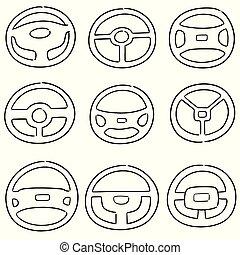 vector set of steering wheels