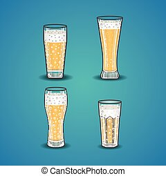 Vector set of stemware with beer
