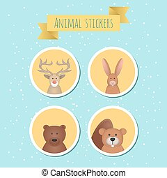 Vector set of stickers with cute wild animals