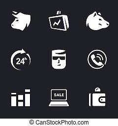 Vector Set of Stock Exchange Icons. - Bull, monitor, bear,...