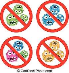 vector set of stop bacteria icons