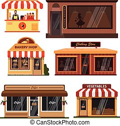 1d1c9db4761 Vector set of store buildings. Shops design elements and icons in flat