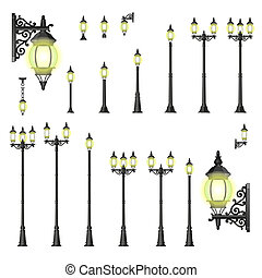 Vector set of street lanterns - isolated - Set of isolated...