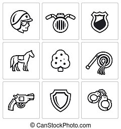 Cop, Motorcycle, Badge, Horse, Tree, Whip, Revolver, Shield, Handcuffs