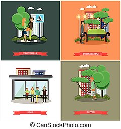 Vector set of street traffic concept posters, banners, flat design