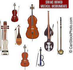 Vector set of string bowed musical instruments in flat...