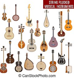 Vector set of string plucked musical instruments in flat...