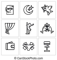 Vector Set of Strip Club Icons. Security, Night, Love, Stage, Striptease, Drink, Money, Gratuity, Bar.