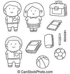 vector set of student and stationary