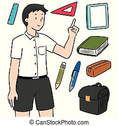 vector set of student and stationery