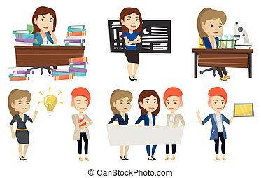 Vector set of student and teachers characters.